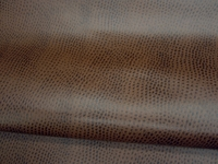 2 5/8 yards of chocolate brown ostrich pattern artificial leather upholstery fabric