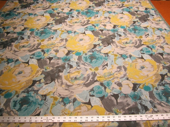 2 5/8 yards Robert Allen Truro Floral Upholstery Fabric Color Turquoise