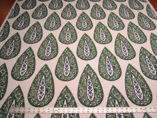2 5/8 yards Sonia color jade print drapery and upholstery fabric