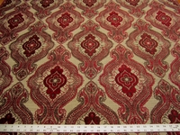 2 yards Sardinia Ruby chenille damask upholstery fabric from Fabricut