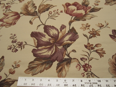 3 3/4 yards Fabricut Avellino Plum Gold Floral upholstery fabric
