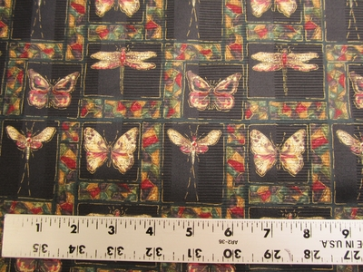 3 3/4 yards of onyx butterfly, dragonfly print drapery fabric