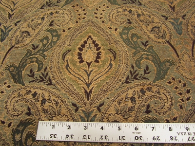3 5/8 yards of Madison spruce paisley chenille upholstery fabric