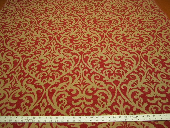 3 7/8 yards of Chinese red damask upholstery fabric