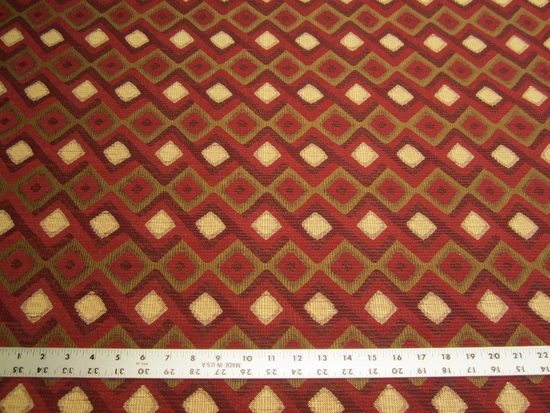 3 7/8 yards of Robert Allen Hombre red hot upholstery fabric r2083c
