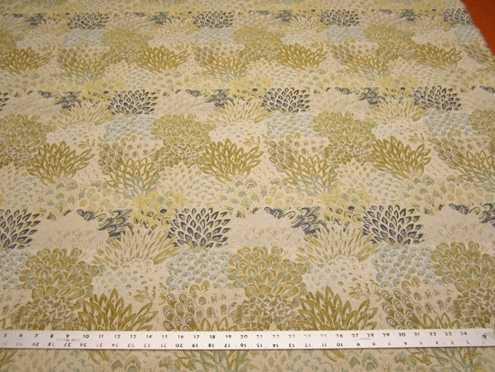 3 7/8 yards Robert Allen Feather Fans zest upholstery fabric