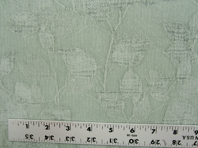 4 1/2 yards of jade green leaf chenille mix upholstery fabric