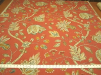 4 1/2 yards Throwback Cranberry Jacobean print upholstery/drapery