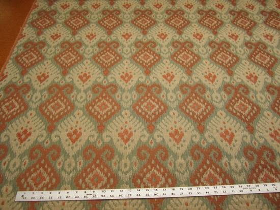 4 1/4 yards of ikat damask upholstery fabric