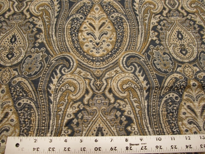 4 1/4 yards of Kravet blue and gold paisley upholstery fabric