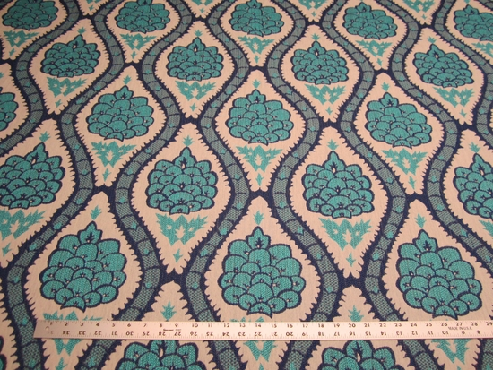 4 1/4 yards of Robert Allen Sophia Range Turquoise upholstery fabric
