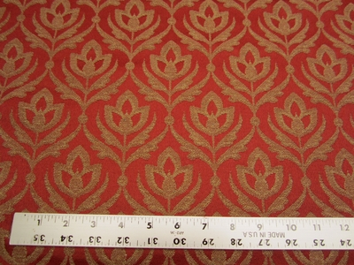 4 3/4 yards of rust flower patterned upholstery fabric