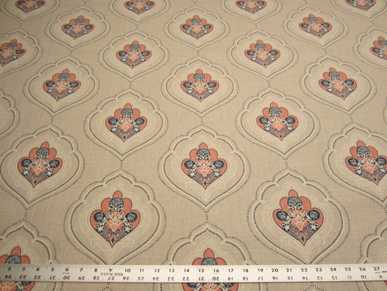 4 yards Duralee Jumana Coral printed upholstery, drapery fabric