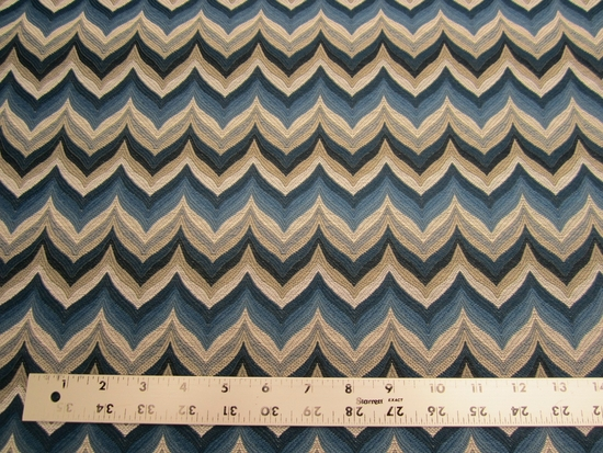 4 yards of blue chevron jacquard upholstery fabric