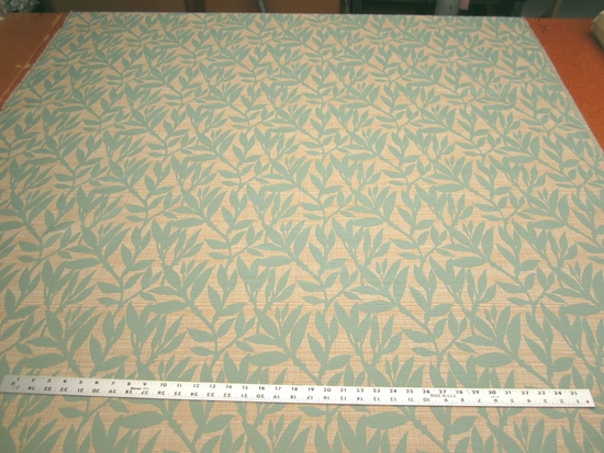 5 5/8 yards of aqua leaf upholstery fabric