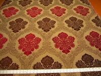 5 yards of Fabricut Salerno Ruby Brown Damask upholstery fabric