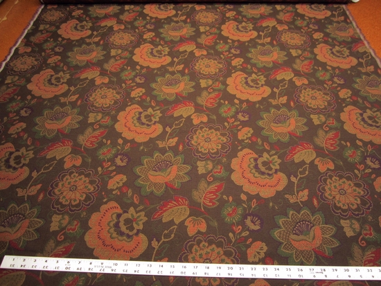 5 yards of rich floral upholstery fabric