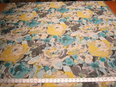 6 3/4 yards Robert Allen Truro Floral Upholstery Fabric Color Turquoise