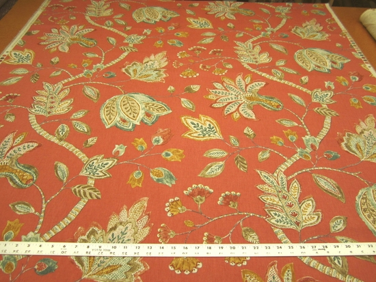 6 yards Throwback Cranberry Jacobean print upholstery/drapery fabric