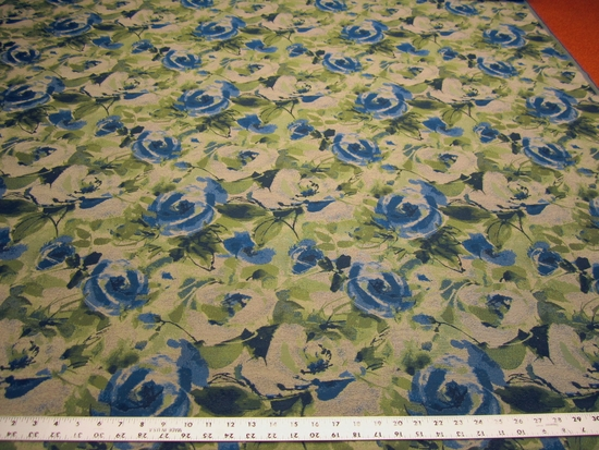 7 1/2 yards of Fabricut Cezanne royal floral upholstery fabric