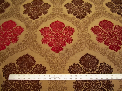 7 1/4 yards of Fabricut Salerno Ruby Brown Damask upholstery fabric