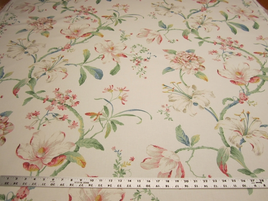 7 1/4 yards of Whitworth floral upholstery or drapery fabric