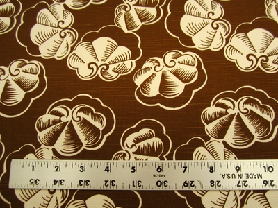 7 1/8 yards of Braemore clam patterned cotton print drapery fabric