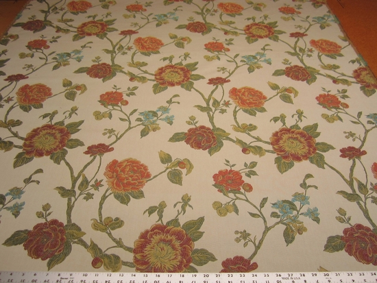 7 3/8 yards Robert Allen Large Buds poppy floral upholstery fabric
