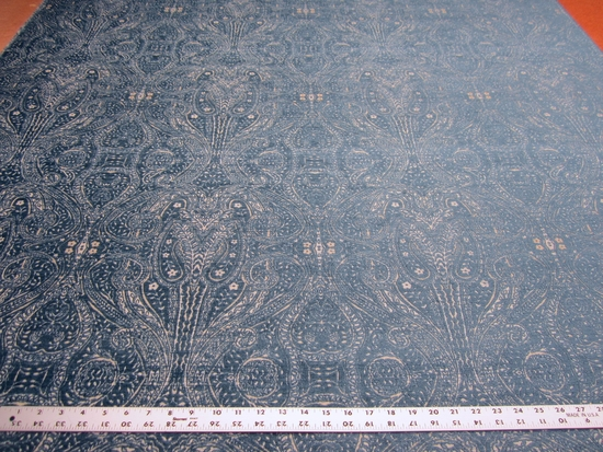 8 1/2 yards Regan Cobalt paisley chenille upholstery fabric