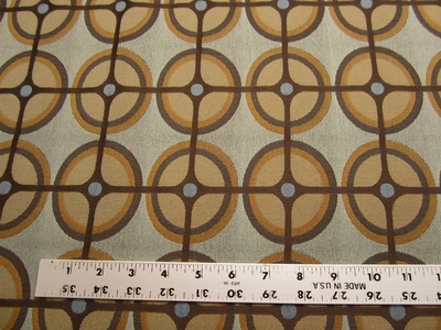 8 1/8 yards of geometric circle pattern upholstery fabric r1488