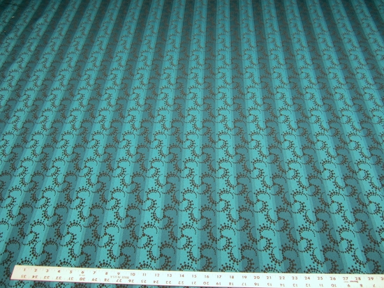 8 3/8 yards of peacock blue stripe upholstery fabric