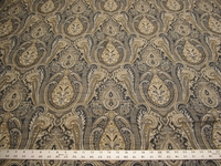 9 1/2 yards of Kravet blue and gold paisley upholstery fabric