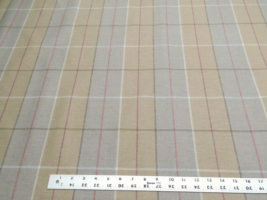 "9 1/8 yards of Marlatex ""Striker"" plaid upholstery fabric"