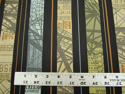 9 5/8 yards of travel pictorial stripe upholstery fabric