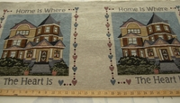 "c200, Pair of ""Home is where the heart is"" tapestry craft pillow panels"