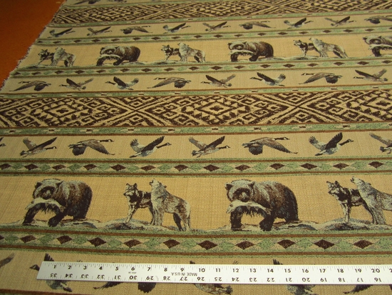 Cabin Fever bear, wolf chenille mix upholstery fabric