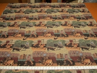 Cutting horse rodeo cowboy tapestry upholstery fabric made in USA