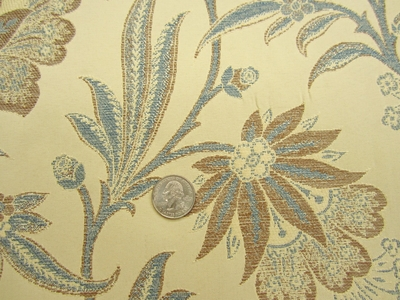 ft109, Tangiers Floral Vine Jacquard upholstery fabric color azure