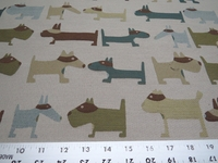 """Poker"" small dog themed uphostery fabric color jade"