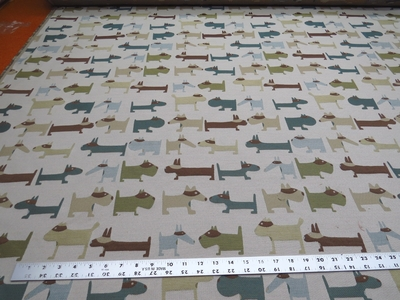 """""""Poker"""" small dog themed uphostery fabric color jade"""