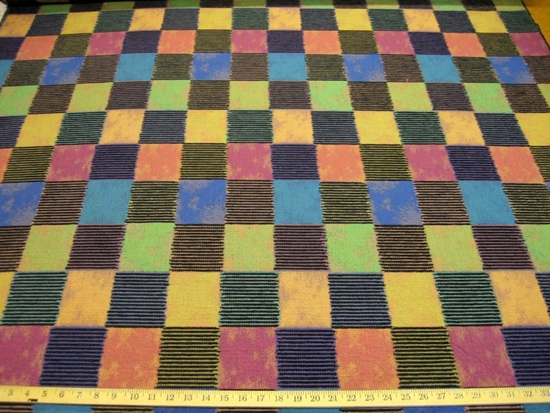 r7965, 5 yd Chenille Tapestry Squares Upholstery