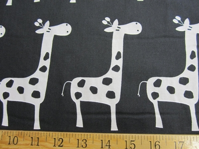 "r8869b, 4 yards ""Stretch"" giraffe white on black childrens drapery fabric"