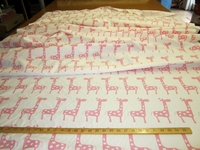 "r8875, 4 yards ""Stretch"" cute giraffe pink on white childrens drapery fabric"