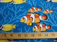 "r8877, 4 yards ""Coral Reef"" tropical fish fabric"