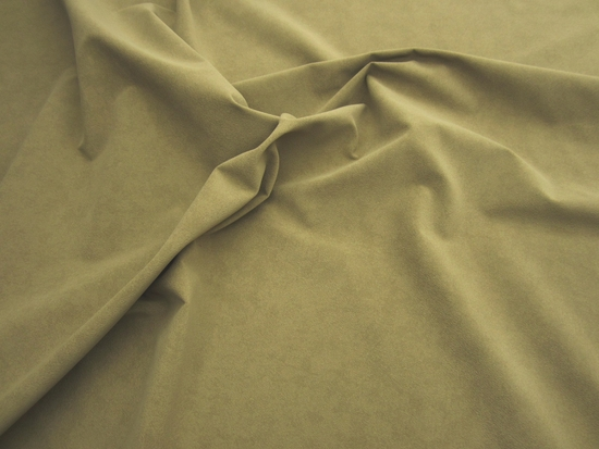 r9277, 15 1/2 yards of peat green commercial faux suede upholstery fabric