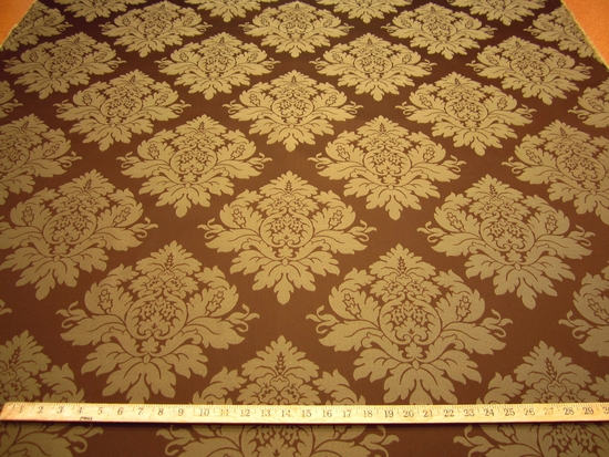 r9486b, 7 3/4 yards of medium brown damask upholstery fabric