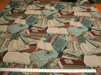 Literary Guild books tapestry upholstery fabric
