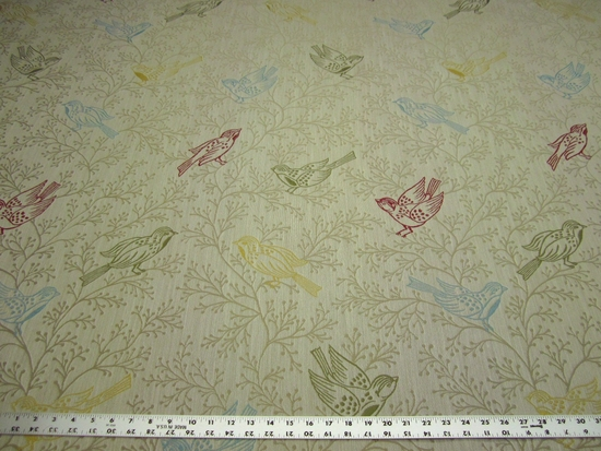 Richloom larkspur bird theme upholstery fabric