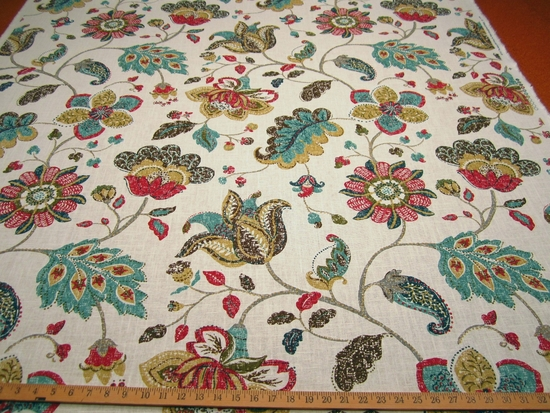 Spring Mix floral print fabric color poppy by Robert Allen per yard