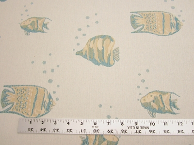 """Tiny Bubbles"" tropical fish themed upholstery fabric"